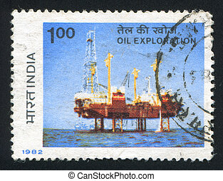Sagar Samrat Drilling Rig - INDIA - CIRCA 1982: stamp...
