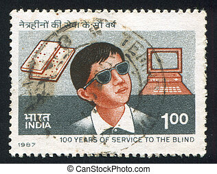 blind boy - INDIA - CIRCA 1987: stamp printed by India,...