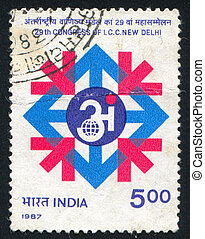 Congress symbol - INDIA - CIRCA 1987: stamp printed by...