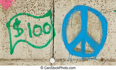 Simple graffity on a concrete wall, dollar and piece sign -...