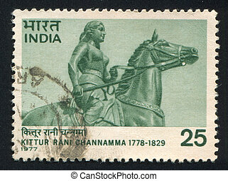 Statue of Rani Channamma - INDIA - CIRCA 1977: stamp printed...