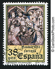 Adoration - SPAIN - CIRCA 1983: stamp printed by Spain,...