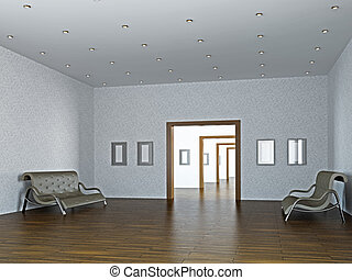 Large gallery with paintings on the walls
