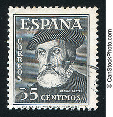 Hernando Cortez - SPAIN - CIRCA 1948: stamp printed by...