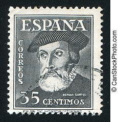Hernando Cortez - SPAIN - CIRCA 1948: stamp printed by...