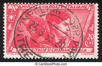 Head of Fascist youth - ITALY - CIRCA 1932: stamp printed by...
