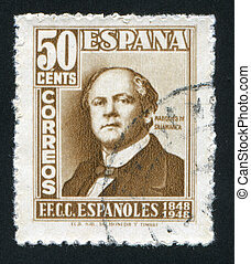 Jose de Salamanca - SPAIN - CIRCA 1948: stamp printed by...