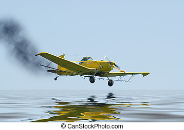 Crash Landing - A small plane on fire and about to crash...