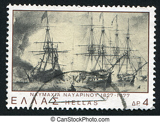 Sea battle of Navarino - GREECE - CIRCA 1977: stamp printed...