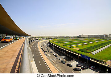 the scene of T3 airport building parking lot in beijing