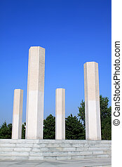 stone pillars in a park in china