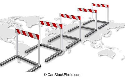 Path to success - A row of barriers and map of world on the...