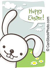 Easter card with bunny - Easter greeting card with cute...