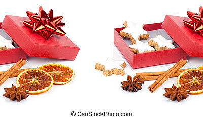 star shaped cinnamon biscuit in red box with Anise, cinnamon...