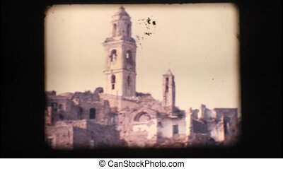 Vintage 8mm View of Old Bussana, a 100 year old town in...