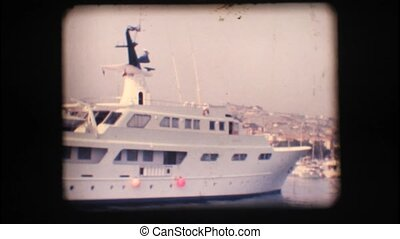 Vintage 8mm. Docked yacht