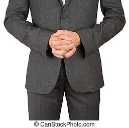 negócio, homem, cinzento, paleto, orando