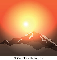 morning in mountains - vector background morning in...