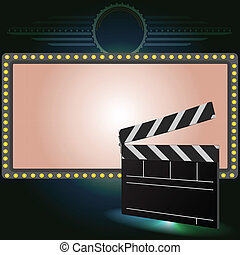 cinema clapper and Neon sign