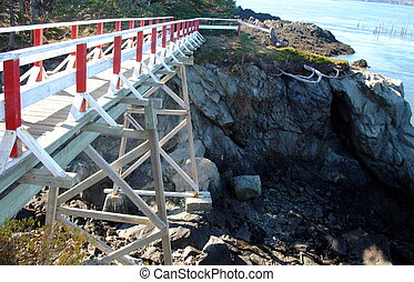 Bridge leading to the East Quoddy Lighthouse in New Brunswick Canada