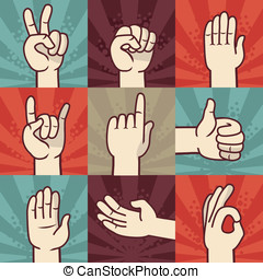 Vector set of hands and gestures - illustration in retro...