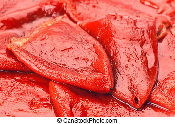 red peppers, roasted and peeled, with garlic and oil