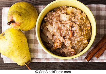 Oatmeal with pears slices - Oatmeal with pears and cinnamon...