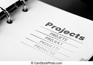 Projects organizer - The word projects in different...