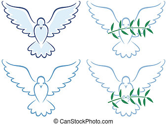 Peace Dove - Line art illustration of white dove in 4...