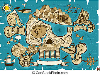 Treasure Map - Map of treasure island in the shape of skull...