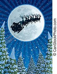 Santa Sleigh - Santa Claus, flying in his sleigh. No...