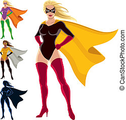 Superhero - Female - Female superhero over white background....