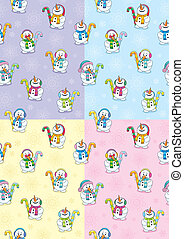 Snowman Seamless Patterns - Holiday season background, which...