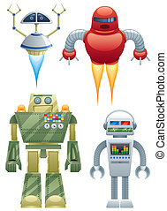 Robots - Set of 4 cartoon robots over white background. No...