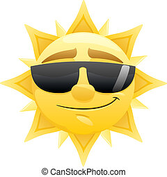 Sun - Smiling sun with sunglasses. No transparency used....