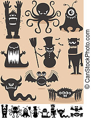Silhouette Monsters - Set of 9 cartoon monsters. No...