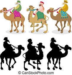 Three Wise Men on White - The three wise men and their...