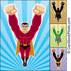 Superhero Flying - Superhero in action 3 additional versions...