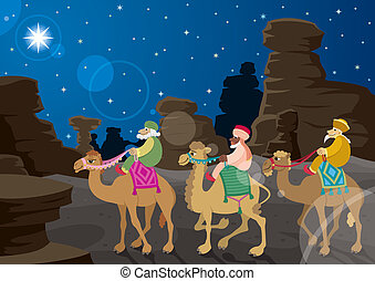 Three Wise Men - The three wise mu0435n on their camels,...