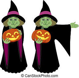 Witch, holding Halloween pumpkin. She is in two different...