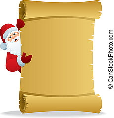 Santa Scroll 2 - Santa, holding scroll with copy space for...
