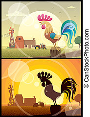 Rooster Crowing - 2 illustrations of crowing roosters on...