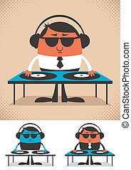 DJ - Illustration of cartoon DJ. No transparency and...