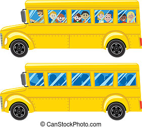 School Bus - Cartoon school bus in 2 versions No...