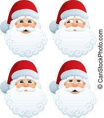 Santas Head - The head of Santa Claus in four different face...