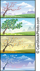 Seasons Landscapes - Cartoon landscape during the four...