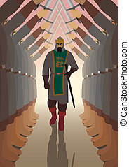 Victor - King, walking through a lane. No transparency used....