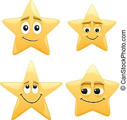 Stars - 4 shiny cartoon stars. No transparency used. Basic...