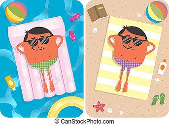 Summer Vacation - 2 illustrations depicting cartoon...