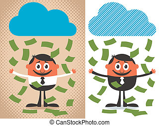 Money Rain - Money raining over cartoon character. The...